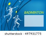 mens doubles badminton players. ... | Shutterstock .eps vector #497931775