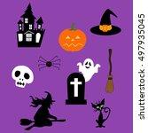 halloween decor set. witch ...   Shutterstock . vector #497935045