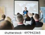 smiling public speaker asking... | Shutterstock . vector #497942365