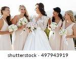brunette bride smiles broad... | Shutterstock . vector #497943919