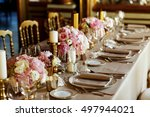 long table served with... | Shutterstock . vector #497944021
