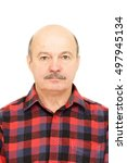 Stock photo portrait for passport elderly old man with mustache bald man in plaid shirt 497945134