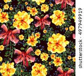 seamless pattern with bouquets... | Shutterstock . vector #497949919