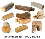 pieces of fire wood isolated... | Shutterstock . vector #497950765
