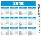 Simple 2018 Year Calendar  Wee...
