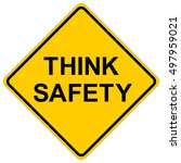 think safety  yellow square... | Shutterstock .eps vector #497959021