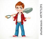 cute boy farmer in jeans... | Shutterstock .eps vector #497971291
