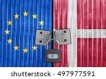 eu and denmark flag on door... | Shutterstock . vector #497977591