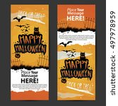 vector happy halloween banner... | Shutterstock .eps vector #497978959
