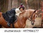 little horsewoman in vintage... | Shutterstock . vector #497986177
