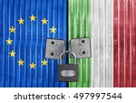 eu and italy flag on door with... | Shutterstock . vector #497997544