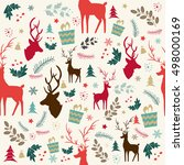 christmas seamless pattern with ... | Shutterstock .eps vector #498000169