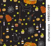 halloween seamless pattern on... | Shutterstock .eps vector #498001489