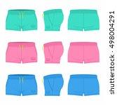 women's  sport shorts | Shutterstock .eps vector #498004291