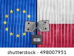 eu and poland flag on door with ... | Shutterstock . vector #498007951