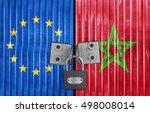 eu and morocco flag on door... | Shutterstock . vector #498008014