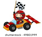 boy racing go kart    vector | Shutterstock .eps vector #49801999