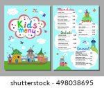 cute colorful meal kids menu... | Shutterstock .eps vector #498038695