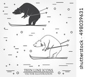 set of skiing bear icons. set... | Shutterstock .eps vector #498039631