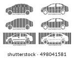 barcode car. set design... | Shutterstock .eps vector #498041581