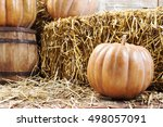 Pumpkins And Straw In Old Barn