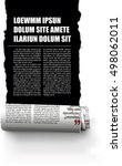 rolled ribbon of the newspaper, revealing a story of hidden newspaper | Shutterstock vector #498062011