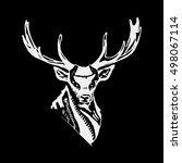 black and white monochrome deer ... | Shutterstock .eps vector #498067114