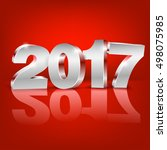 happy new year 2017 bright red... | Shutterstock .eps vector #498075985