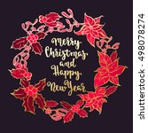 merry christmas wreath  new... | Shutterstock .eps vector #498078274