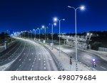 empty freeway at night   blue... | Shutterstock . vector #498079684