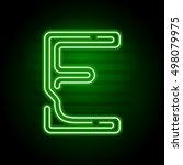 realistic green neon letter.... | Shutterstock .eps vector #498079975