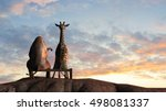 Elephant And Giraffe  On A...