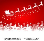 santa claus in sled rides in... | Shutterstock .eps vector #498082654