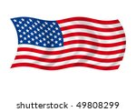american flag flaps on winds | Shutterstock . vector #49808299