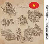 travel series  vietnam.... | Shutterstock .eps vector #498083359