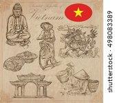 travel series  vietnam.... | Shutterstock .eps vector #498083389