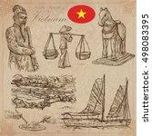 travel series  vietnam.... | Shutterstock .eps vector #498083395