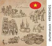 travel series  vietnam.... | Shutterstock .eps vector #498083401