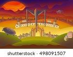 fantasy landscape illustration. ... | Shutterstock . vector #498091507