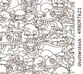 halloween doodle seamless ... | Shutterstock .eps vector #498097621