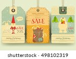 christmas sale tags in retro... | Shutterstock .eps vector #498102319