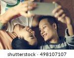 lgbt lesbian couple moments...   Shutterstock . vector #498107107