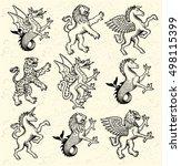 heraldic monsters. vector...