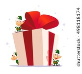 vector flat christmas elf... | Shutterstock .eps vector #498118174