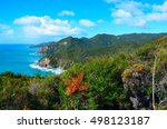 Small photo of Coastal Path and cliffs in Great Barrier Island, New Zealand