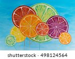 background with citrus fruit... | Shutterstock . vector #498124564