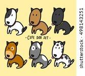 cute dogs set cartoon... | Shutterstock .eps vector #498143251