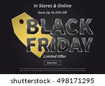 black friday with gold price... | Shutterstock .eps vector #498171295