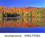Stock photo autumn colors on the lake mont tremblant area quebec canada 498179581