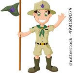 cute scout cartoon holding pole ... | Shutterstock .eps vector #498189079